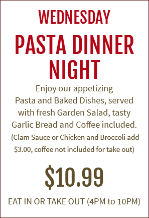 Tony's Italian Restaurant and Pizza Farmingdale, NJ - Pasta Dinner Night